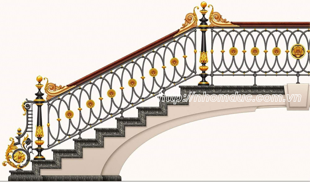 Cầu thang nhôm đúc cao cấp phù hợp với các không gian nhà biệt thự,kiến trúc Pháp.