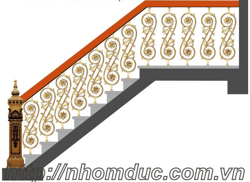 Mẫu cầu thang nhôm đúc CT 101, Nhôm đúc, Cửa nhôm đúc