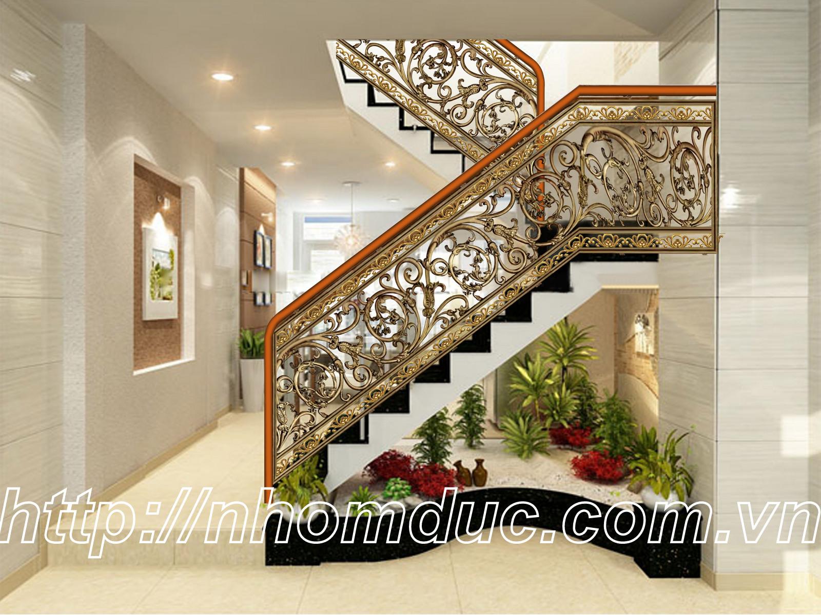 Cầu thang nhôm đúc bền, đẹp, thẩm mỹ.