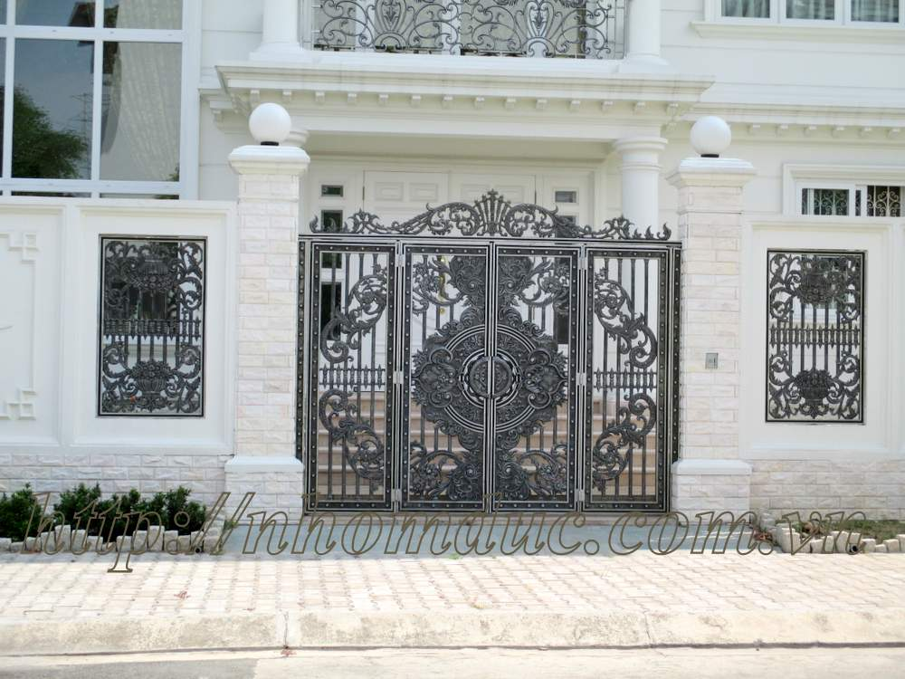 Mẫu cổng nhôm đúc 4 cánh, cửa nhôm đúc 4 cánh