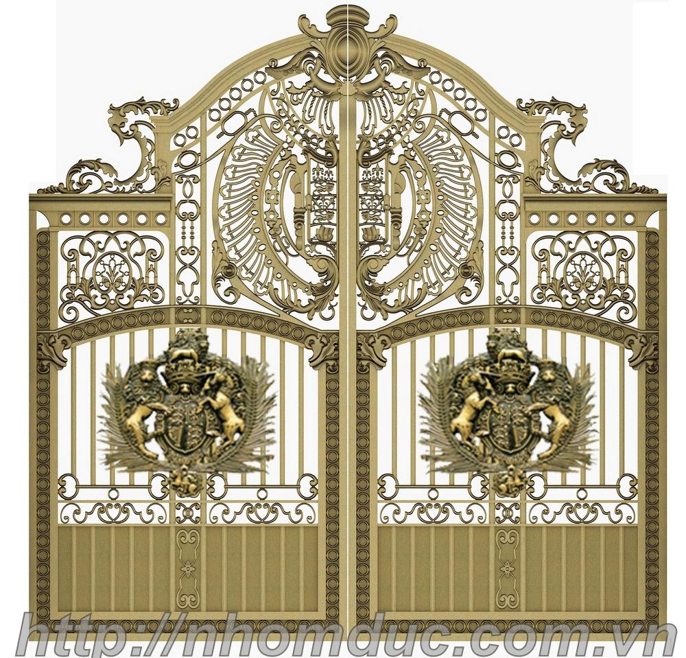 Cổng nhôm đúc Buckingham mẫu kín thoáng