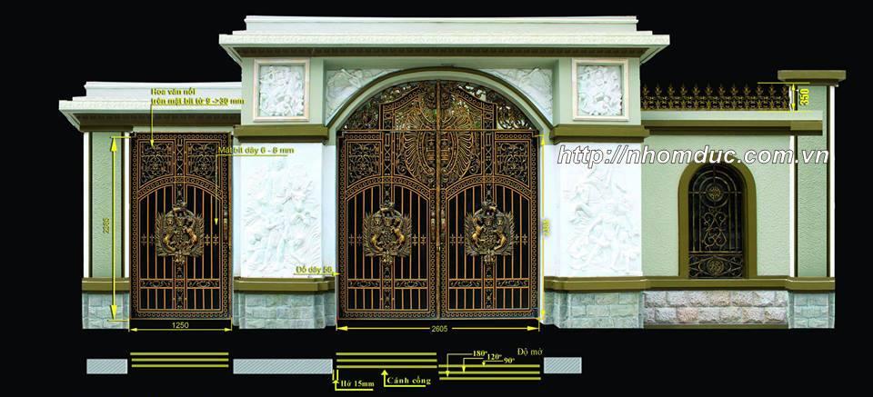 Mẫu cổng nhôm đúc buckingham có mái vòm