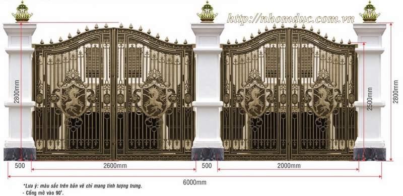 Thiết kế cổng nhôm đúc theo yêu cầu, thiết kế nhôm đúc Fuco