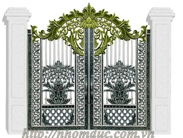 Cổng nhôm đúc hoa lá tây