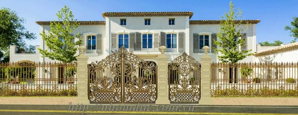 Mẫu cổng nhôm đúc hoa lá tây,  Báo giá cổng nhôm đúc Fuco, giá 200kg
