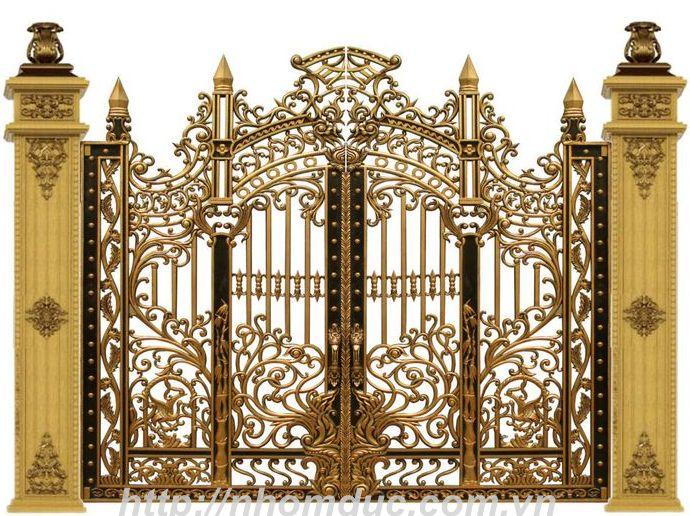 Cổng cửa hợp kim nhôm đúc Hóa Lá Tây
