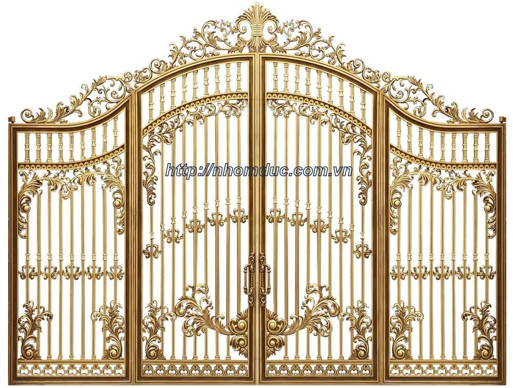 cổng nhôm đúc trống đồng đẹp, cổng nhôm đúc hóa lá tây