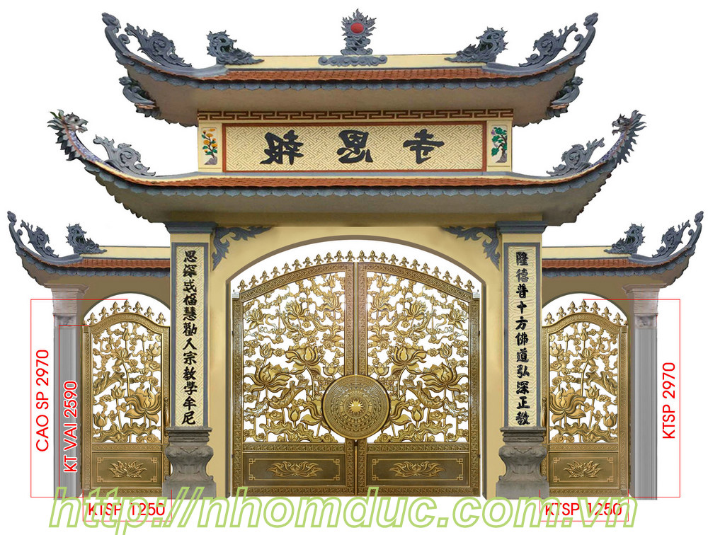 Cổng nhôm đúc hoa sen nhà chùa