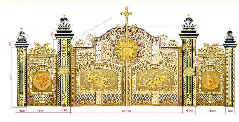 Cổng nhôm đúc nhà thờ công giáo GAT 1104