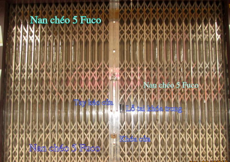 Cửa xếp INOX chống trộm, cửa xếp inox Fuco hộp 20x20, nan chéo đặc chống trộm cao cấp nhất tại Hà Nội. Cửa xếp INOX hộp Fuco có dòng INOX hộp 304
