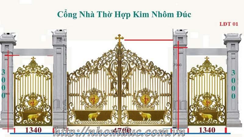 Cổng nhôm đúc nhà thờ công giáo