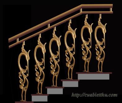 Cầu thang nhôm đúc cao cấp phù hợp với các không gian nhà biệt thự,kiến trúc Pháp