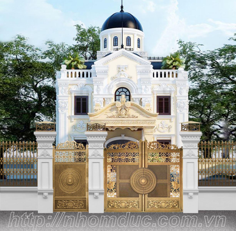 đúc nhôm, đúc đồng làm ra bổ cửa cổng hoàn toàn bằng nhôm đúc cho các biệt thự cổ kính