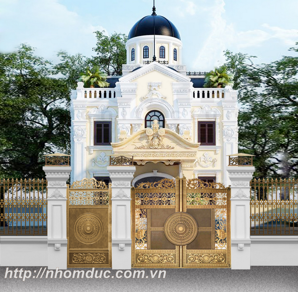 Cửa cổng biệt thự đẹp cửa cổng nhôm đúc