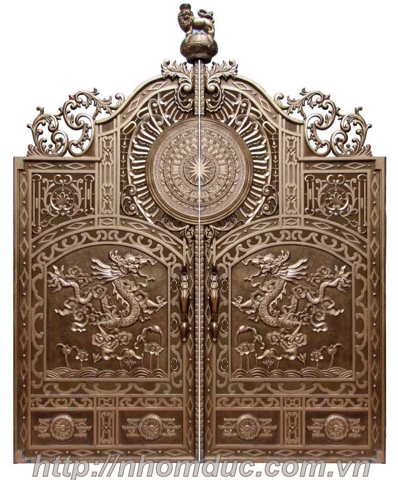 cổng nhôm đúc mai rồng trống đồng