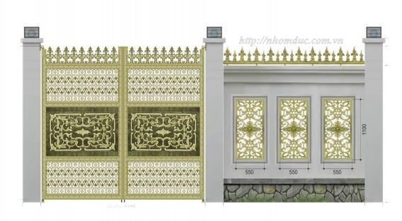 Cổng Nhôm Đúc, Cửa cổng hợp kim nhôm đúc với hoa văn được thiết kế tinh tế độc đáo