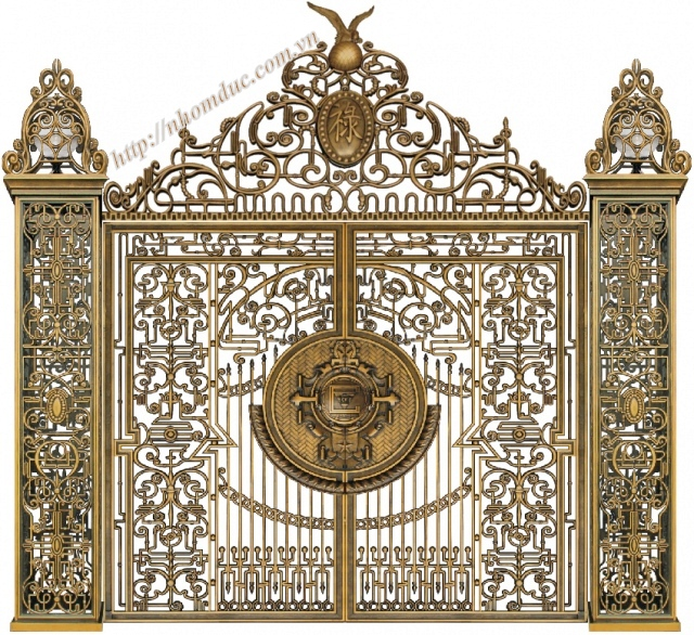 Cửa cổng hợp kim nhôm đúc với hoa văn được thiết kế