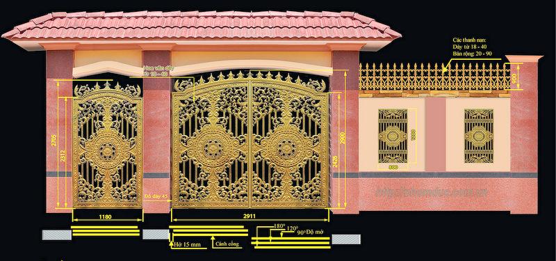 Thiết kế cổng nhôm đúc theo yêu cầu. Công ty hợp kim nhom đúc Fuco